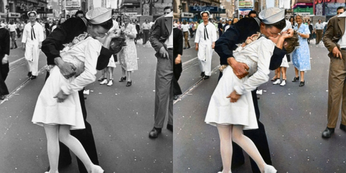 La historia capturada en blanco y negro convertida a color